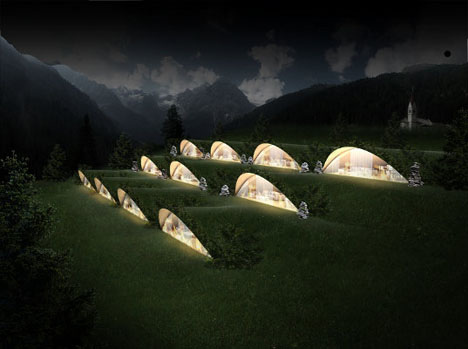 Eco-friendly underground hotel in the Alps