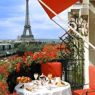 The Eiffel Tower from the balcony of the Hotel Plaza Athenee