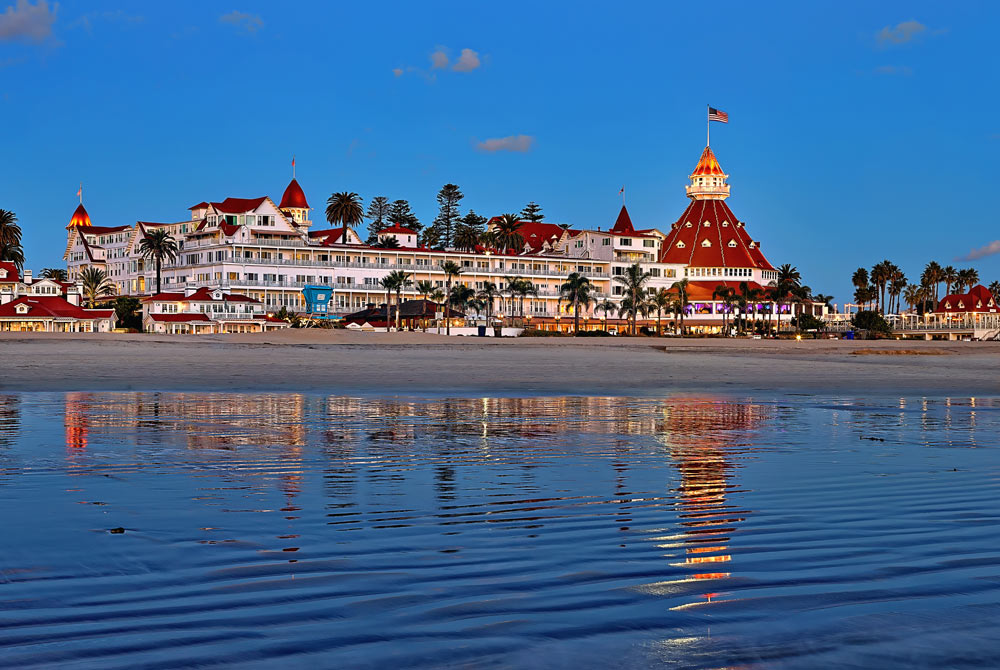 Hotel del Coronado at sunset.