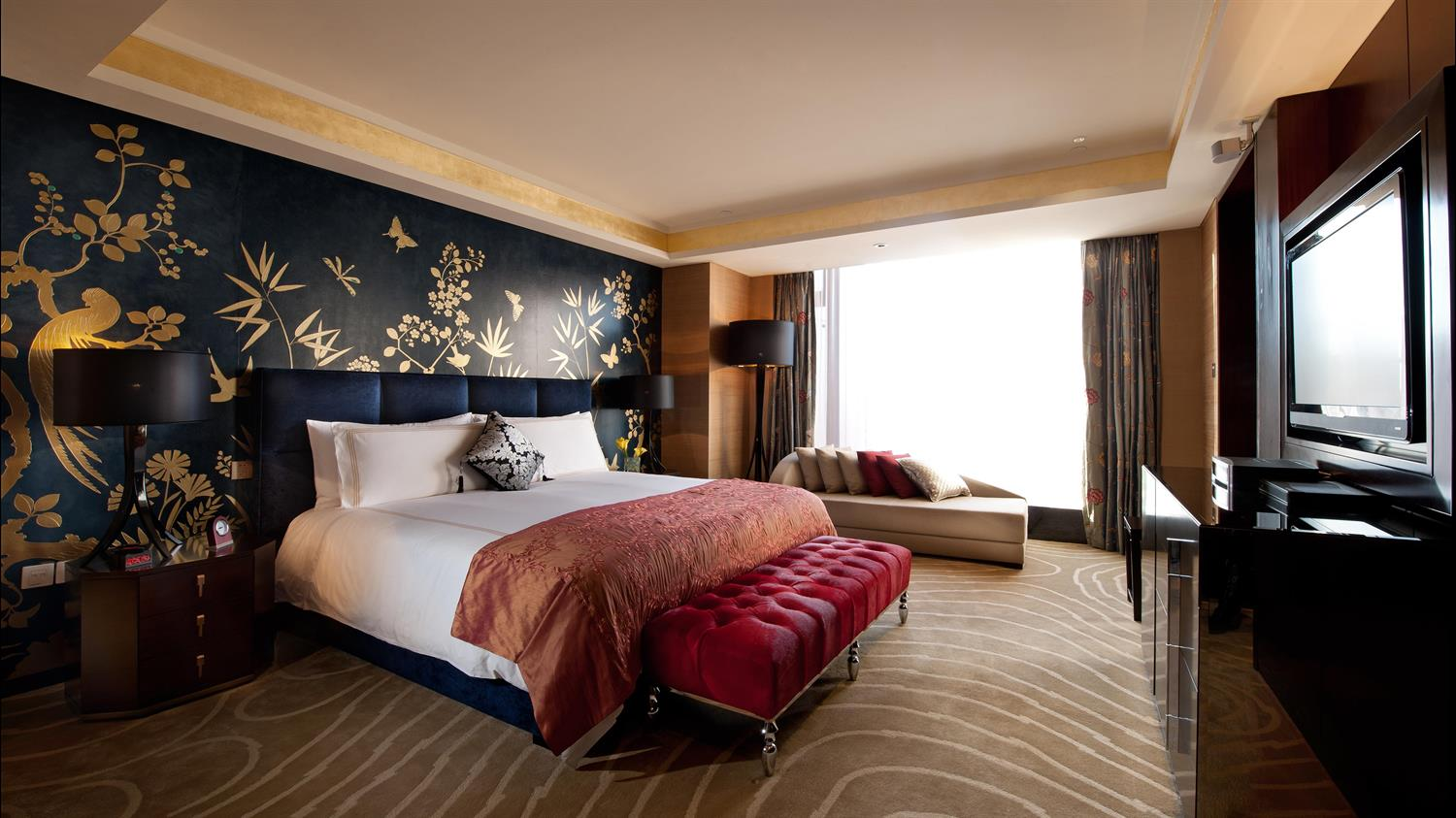 The bedroom within the Presidential Suite at the Fairmont Beijing