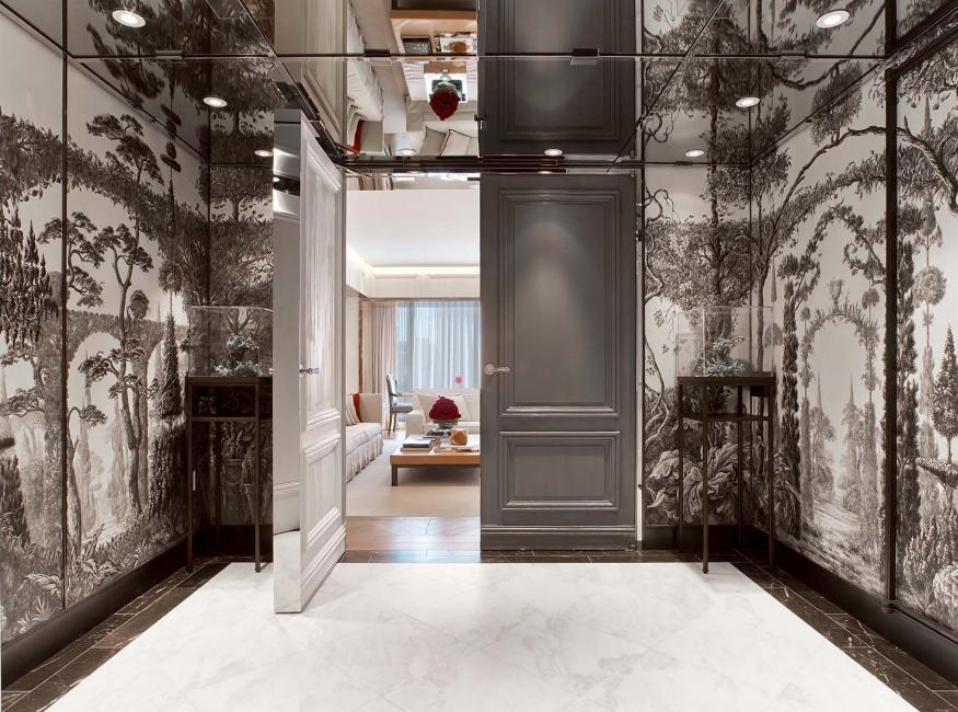 The entrance of the Baccarat Suite at the Baccarat Hotel NYC