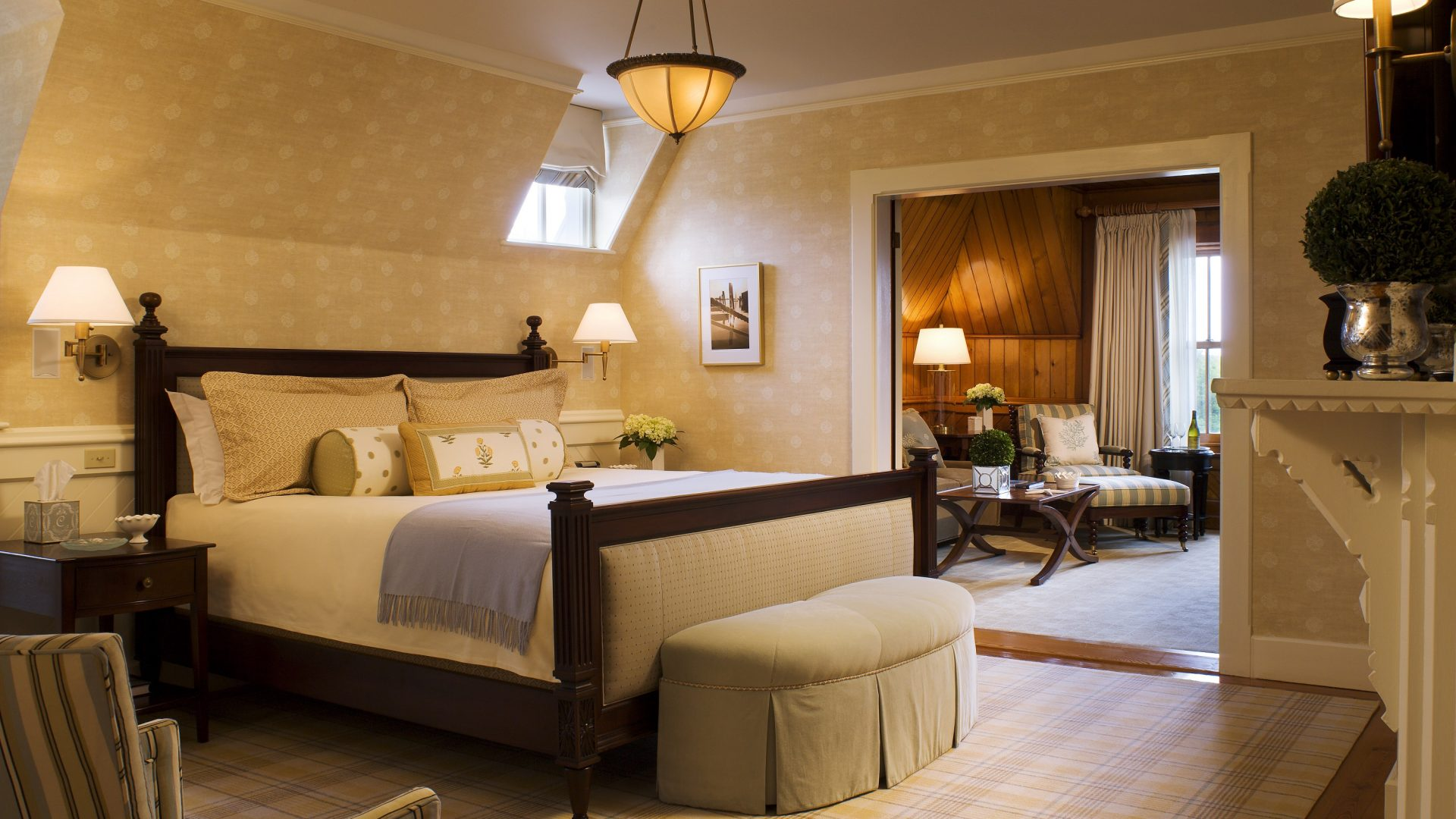 The Lighthouse Suite Bedroom at the Castle Hill Inn and Resort