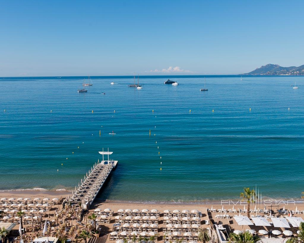 Carlton Beach and Mediterranean Sea at InterContinental Carlton Cannes, Cannes, France