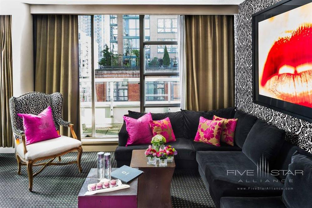 Suite Living Area at Opus Hotel VancouverCanada