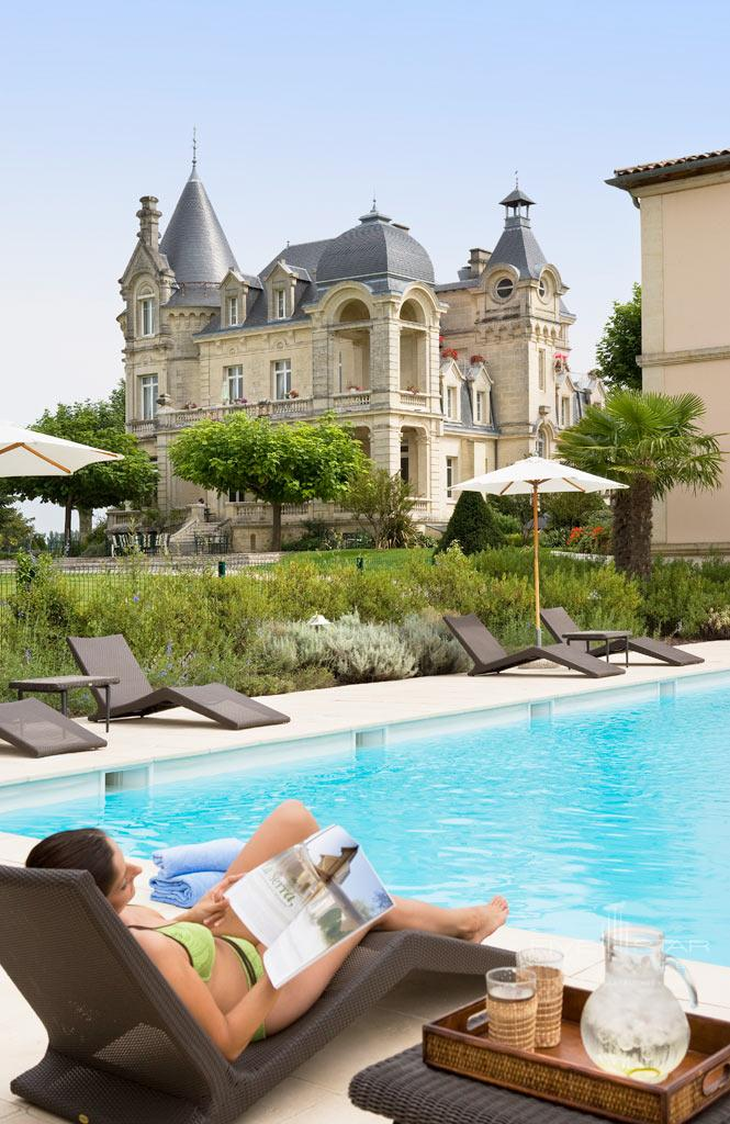 Outdoor Heated Pool at Hotel Chateau Grand Barrail Saint EmilionFrance
