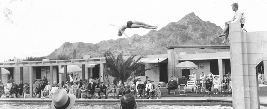 Archive photo from the 1930s - a pool diver at the Arizona Biltmore Hotel.
