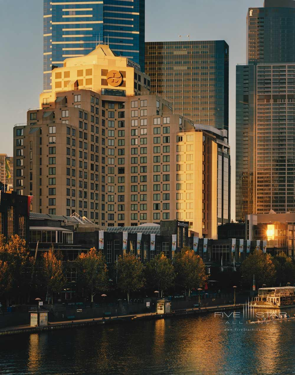 Exterior Of The Langham Hotel Melbourne From The Nearby River.