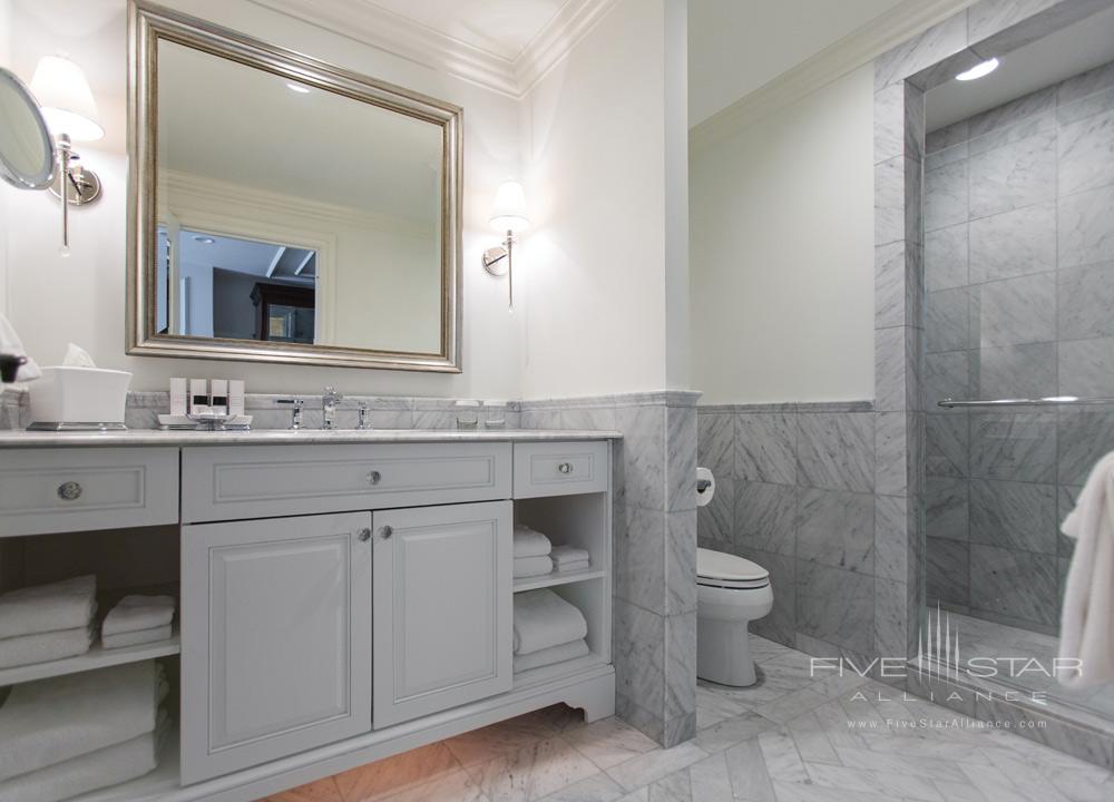 Newly renovated guest bath at Belmond Charleston Place, Charleston SC