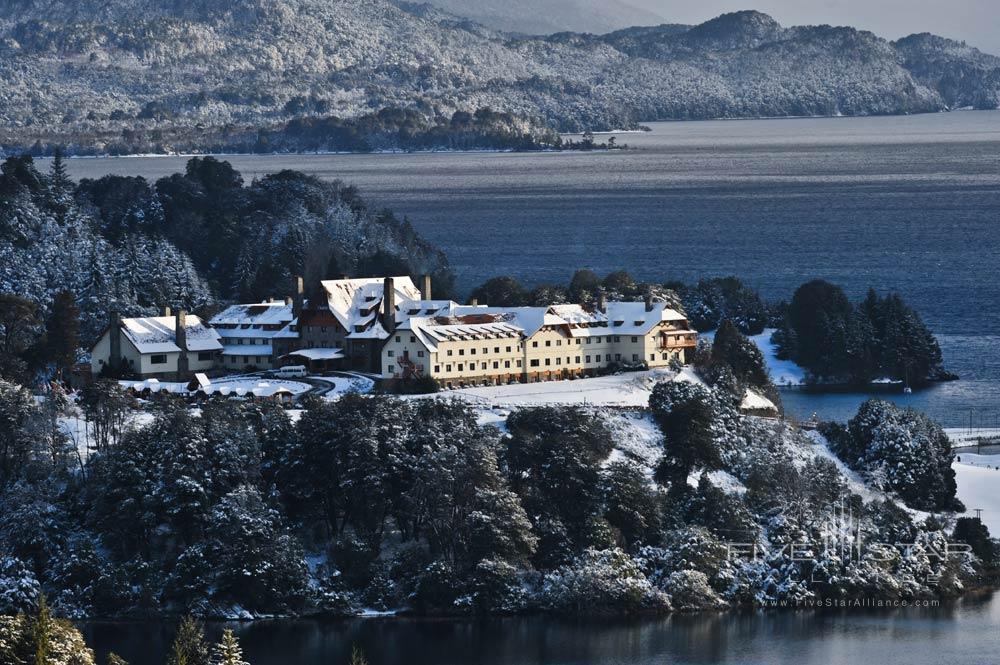 Exterior View in Winter at Llao Llao Hotel BarilocheArgentina