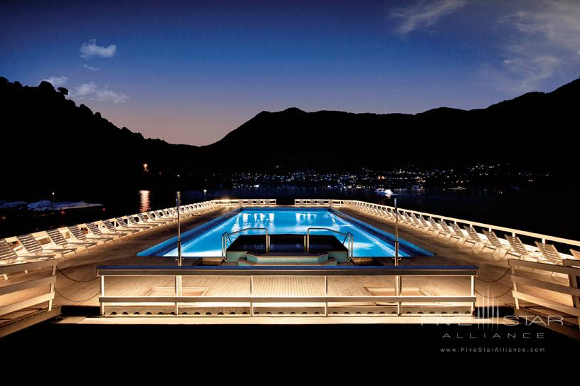 Floating Swimming Pool by night at The Villa d'Este Lake Como