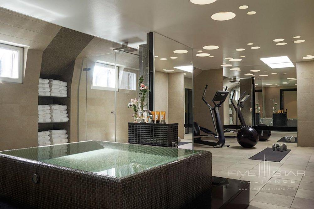 Bathroom Spa area of the Princess Lilian Suiteon the top floor of the Grand Hotel Stockholm with exercise equipment.