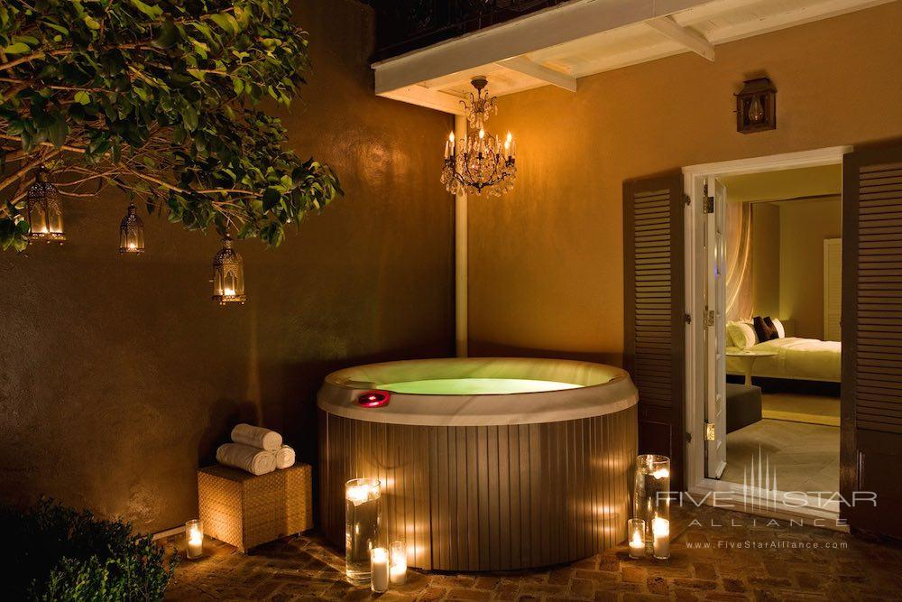 Private courtyard jacuzzi in one of the four Studio Suites at the W Hotel New Orleans in the French Quarter