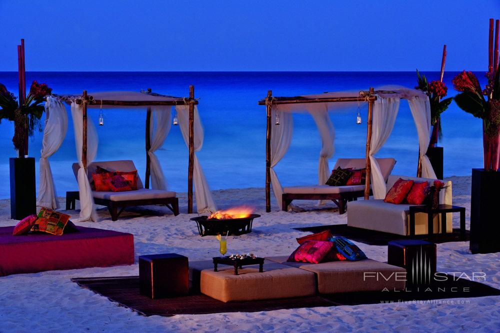 Beach firepit and lounge at Ritz Carlton Cancun, Mexico