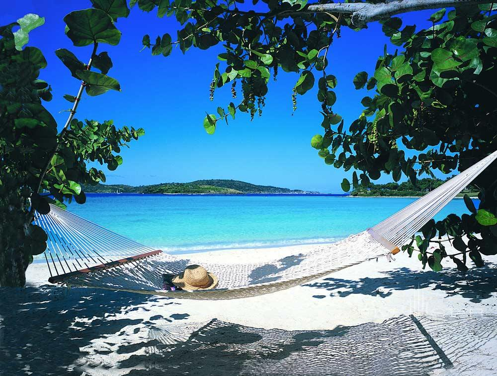 Relax and Lounge on Beach Hammocks at Caneel BaySt. JohnUnited States