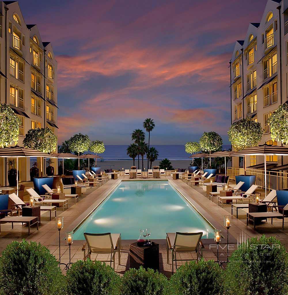 Pool during December month at The Loews Santa Monica Beach HotelCA