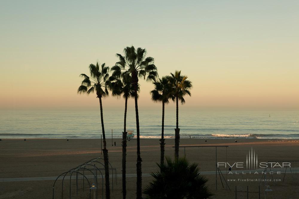 Beach view from the Fireside Lounge at Loews Santa Monica Beach HotelCA
