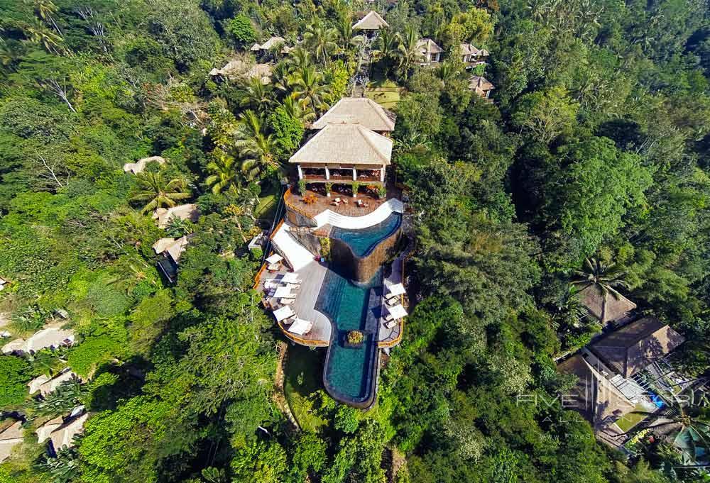 Aerial shot of Hanging Gardens Ubud in BaliIndonesia