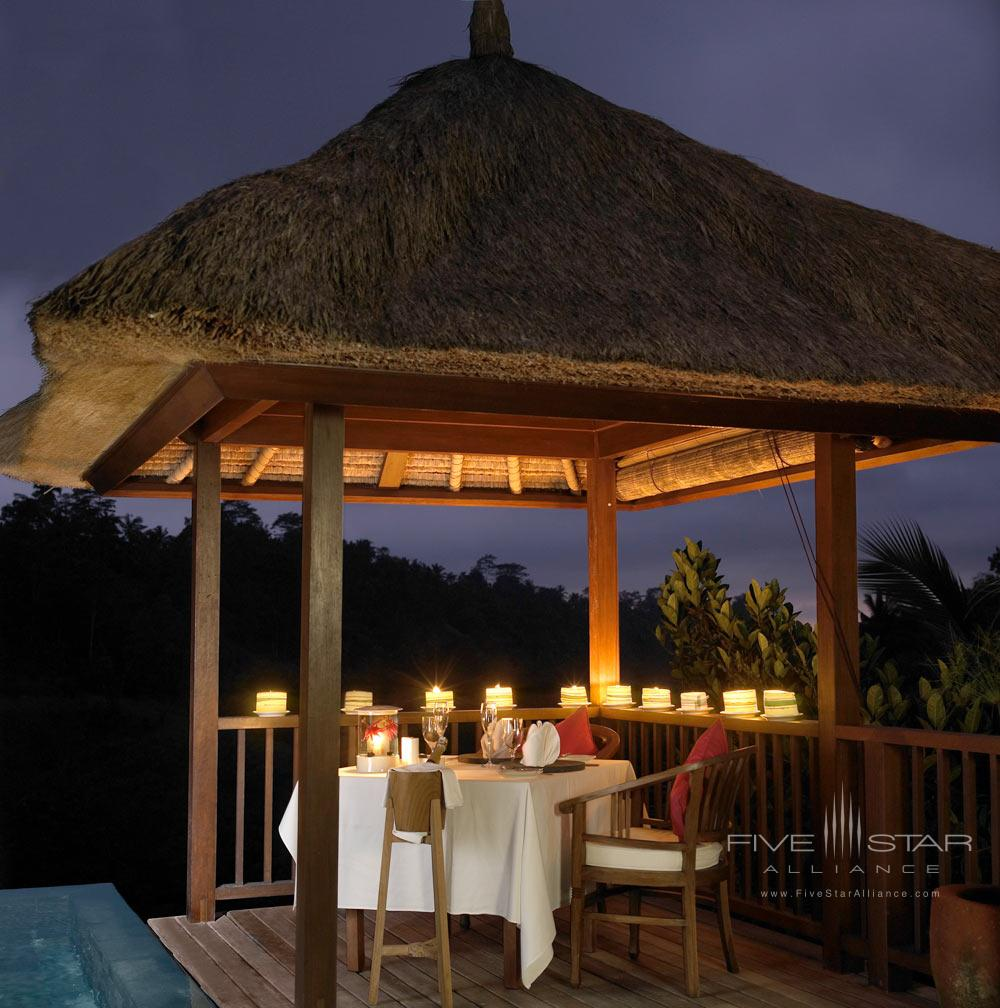 Romantic dinner at Hanging Gardens Ubud in BaliIndonesia