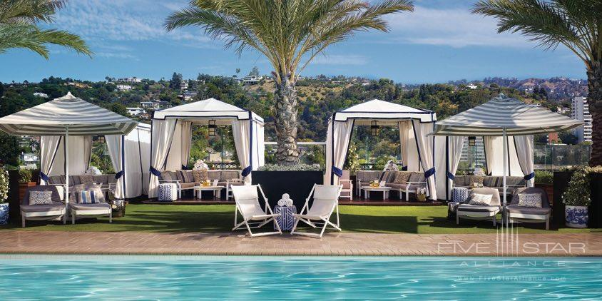 Pool cabanas at the rooftop pool of the London West Hollywood