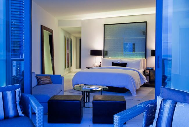 W South Beach Wonderful Studio. Unwind in a brightoceanview Wonderful Studio fitted with a private glass balcony and filled with all sorts of pampering goodies. The signature W king bed is plush with pillow-top mattress350-thread-count Egyptian cotton sheets and goose down comforter and pillows. A 37flat screen TV entertains in bed. The spacious bathroom is lined with Cippolino marble and vanity counter-tops and has a walk-in shower.