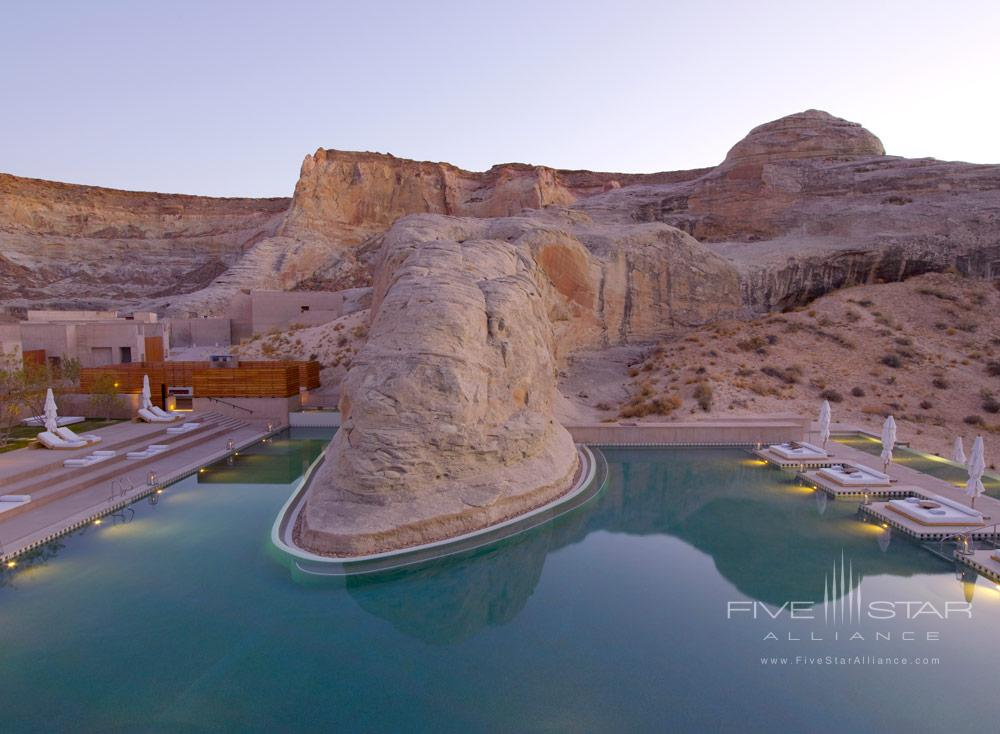 The swimming pool at dusk at Amangiri in Canyon PointSouthern Utah courtesy of Amanresorts