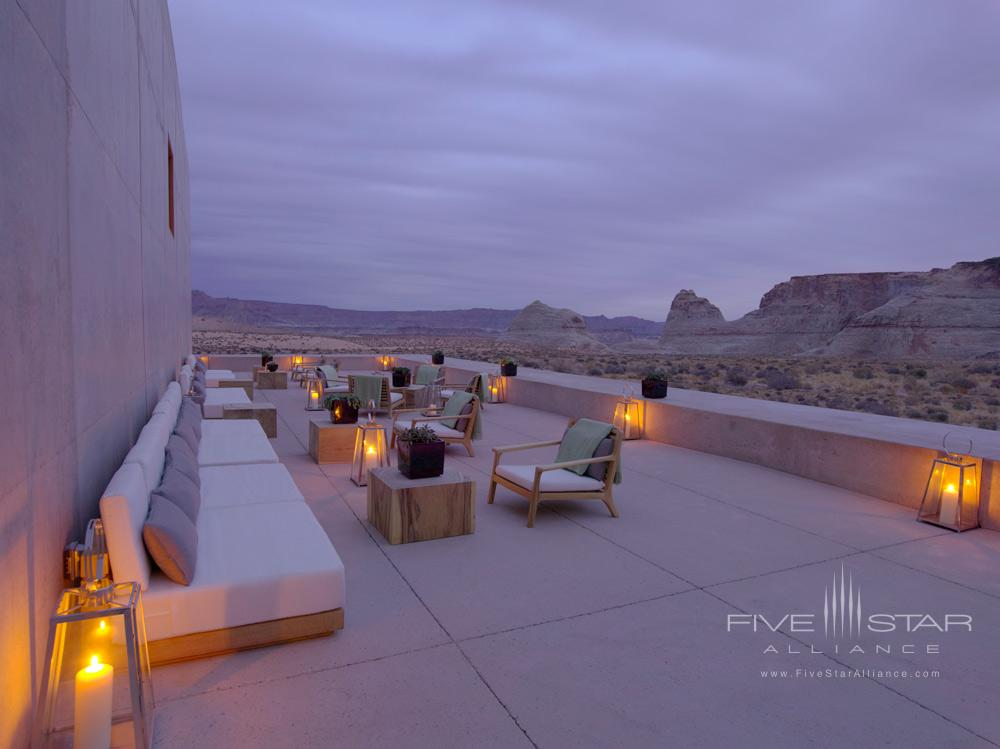 Desert lounge at dusk at Amangiri in Canyon PointSouthern Utah courtesy of Amanresorts