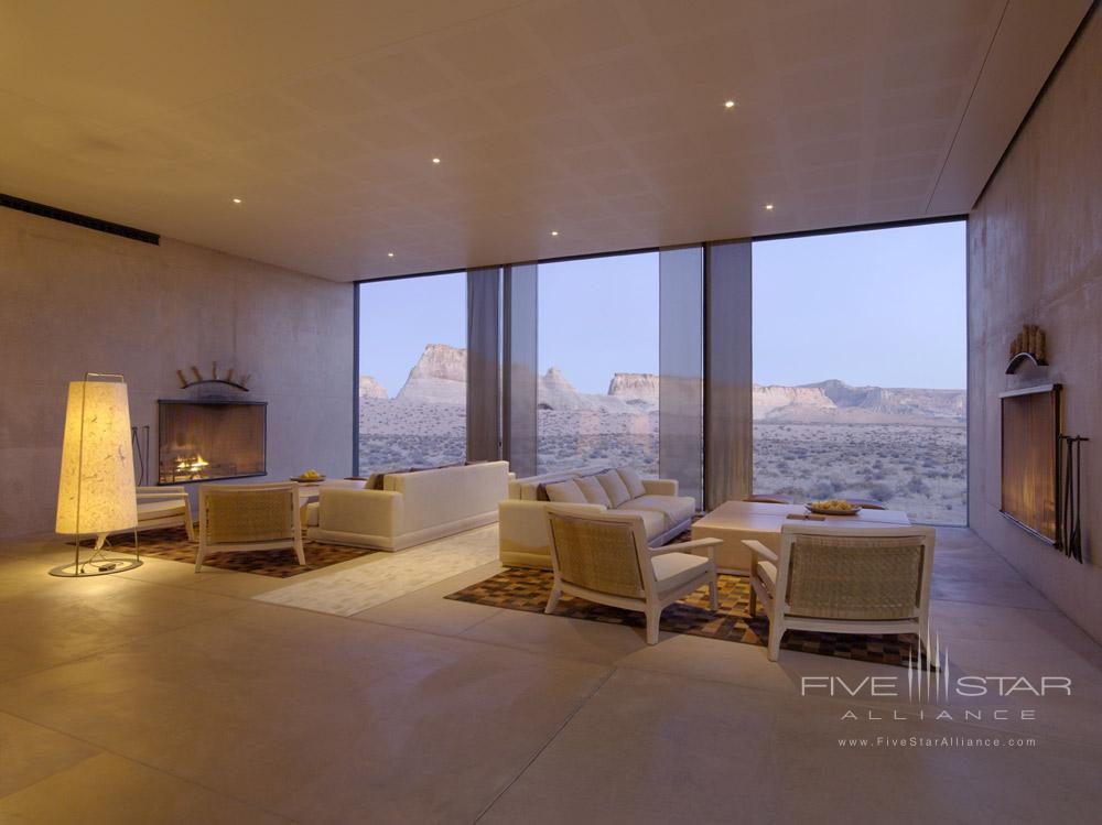 The Amangiri Living Room at Amangiri in Canyon PointSouthern Utah courtesy of Amanresorts