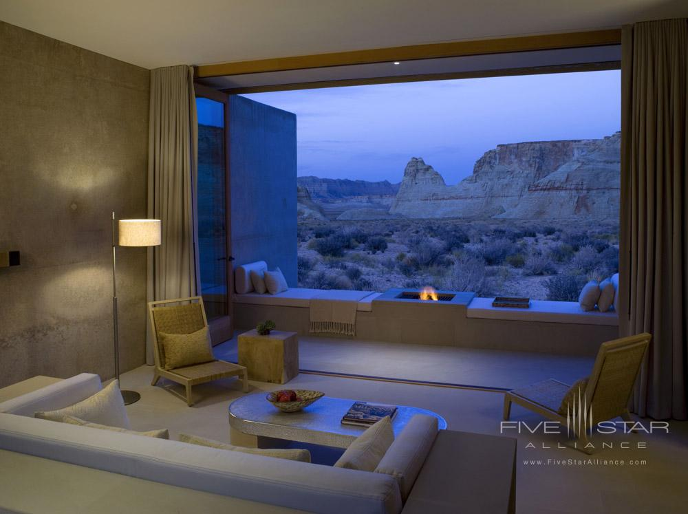 View of an evening fire from a Mesa View Suite at Amangiri in Canyon PointSouthern Utah courtesy of Amanresorts