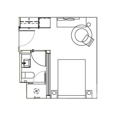 Guestroom floorplan at the James New York Soho Hotel