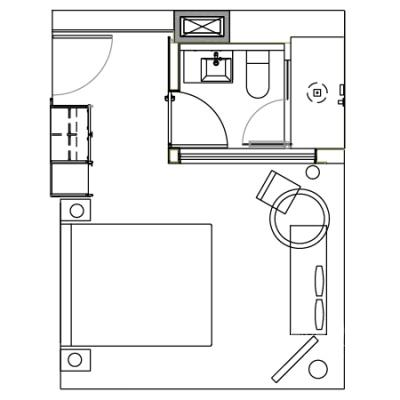 Corner Studio guestroom floorplan at the James New York Soho Hotel