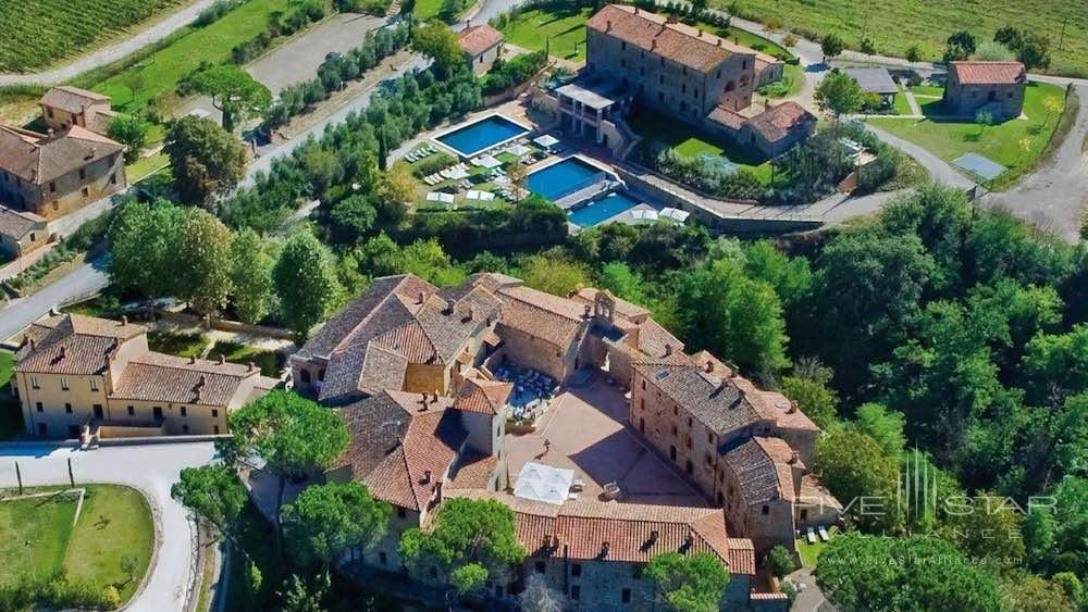Overview of Castel Monastero in Siena, Italy
