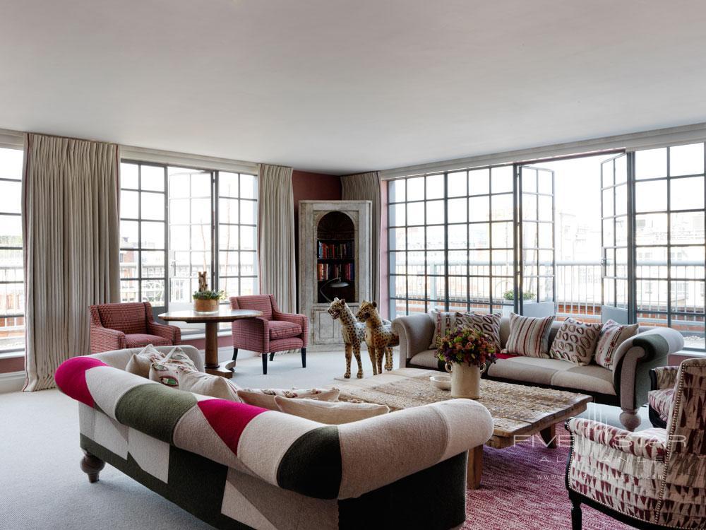 Suite Living Area at Soho Hotel LondonUK