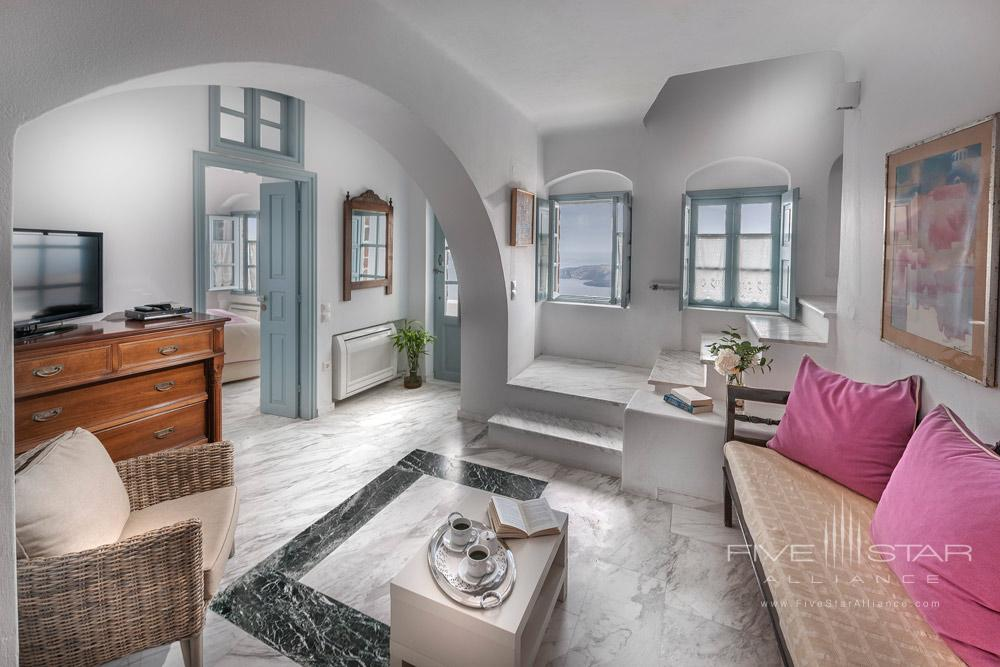 Suite Living Room at Aigialos HotelSantoriniGreece