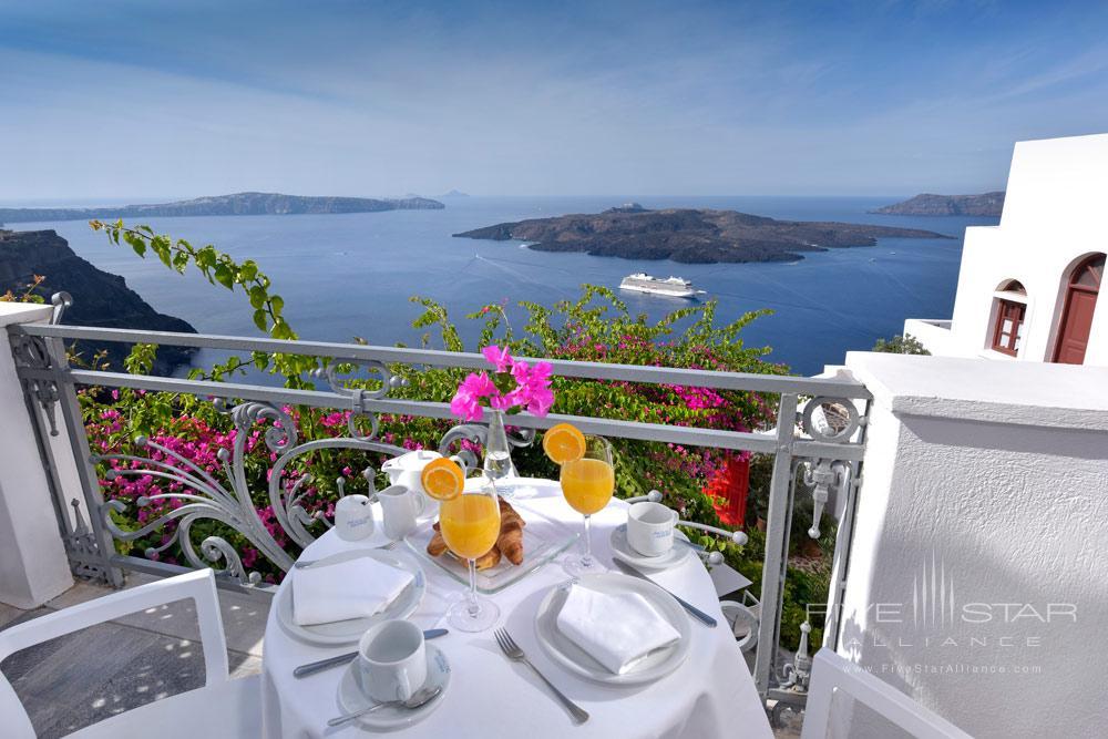 Breakfast on Apiliotis Balcony Overlooking Views at Aigialos HotelSantoriniGreece