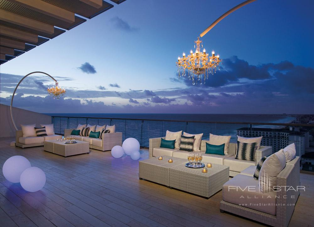Presidential Suite terrace at night at Secrets The Vine Cancun, Mexico