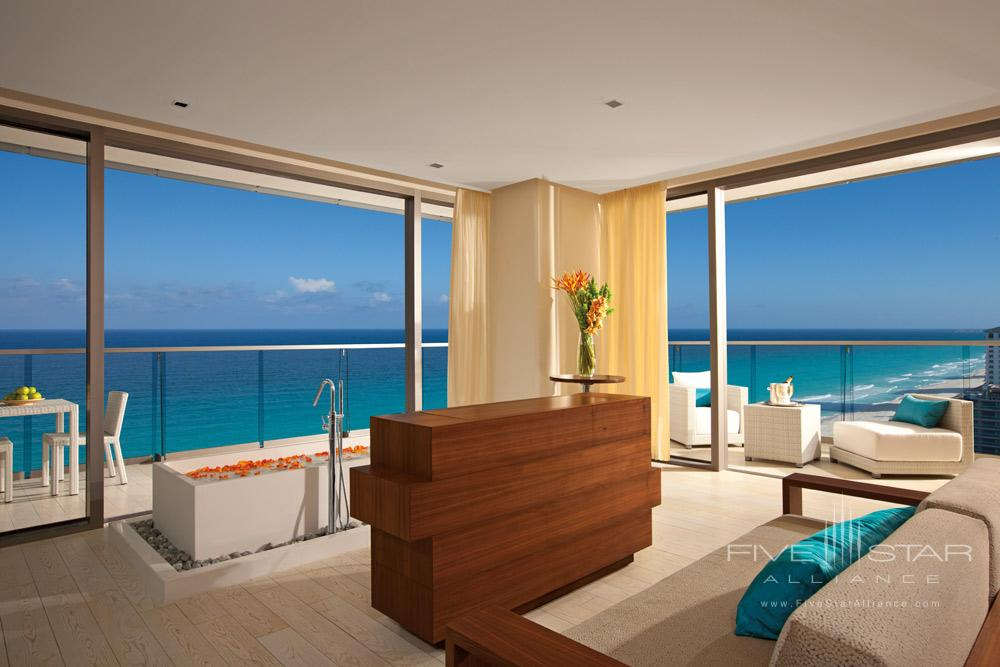 Honeymoon Suite offers panoramic views of the Caribbean at Secrets The Vine Cancun, Mexico
