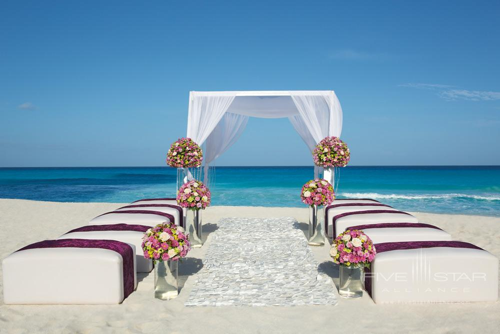 Wedding ceremony set-up at Secrets The Vine CancunMexico