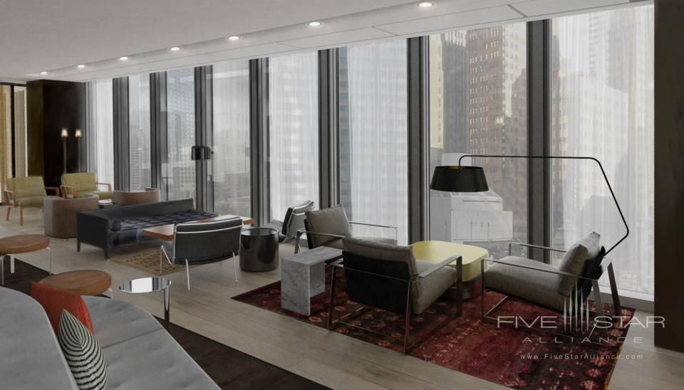 The Langham Chicago. The lounge at Travelleoffering spacious mid-century design and floor-to-ceiling views of the skyline and Chicago River.