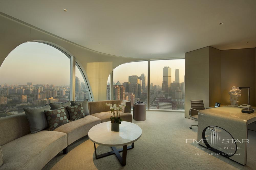 Executive suite living room with city view at Conrad BeijingChina