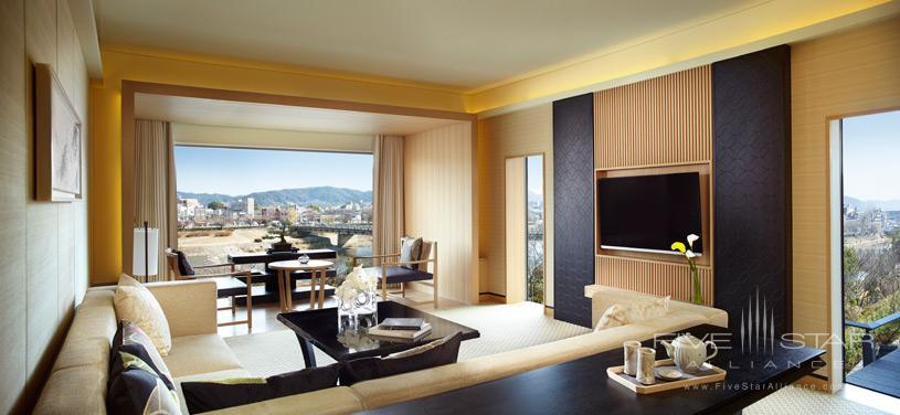 Kamogawa Suite Living Area at The Ritz Carlton Kyoto