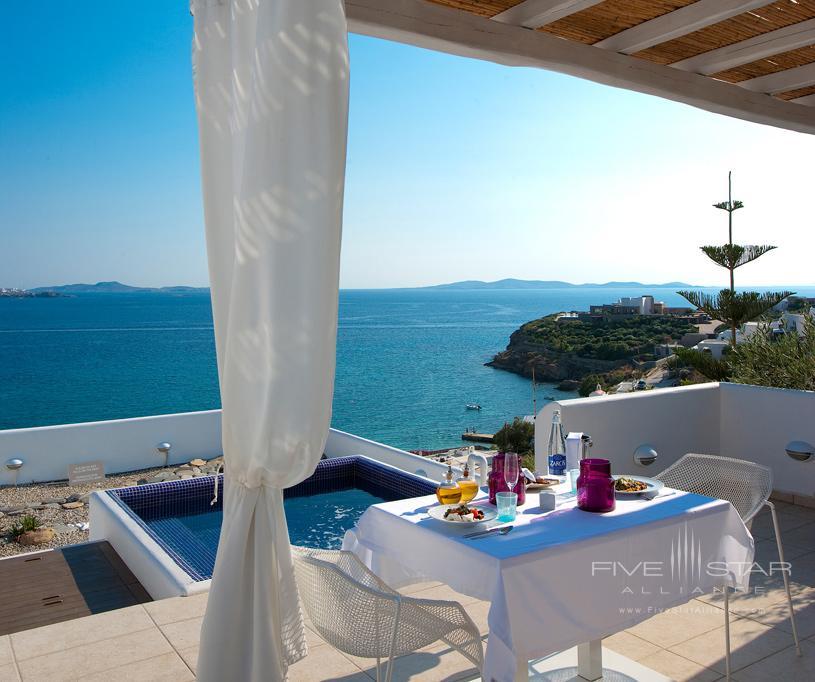 Honeymoon Suite Terrace and Plunge Pool at Grace Mykonos