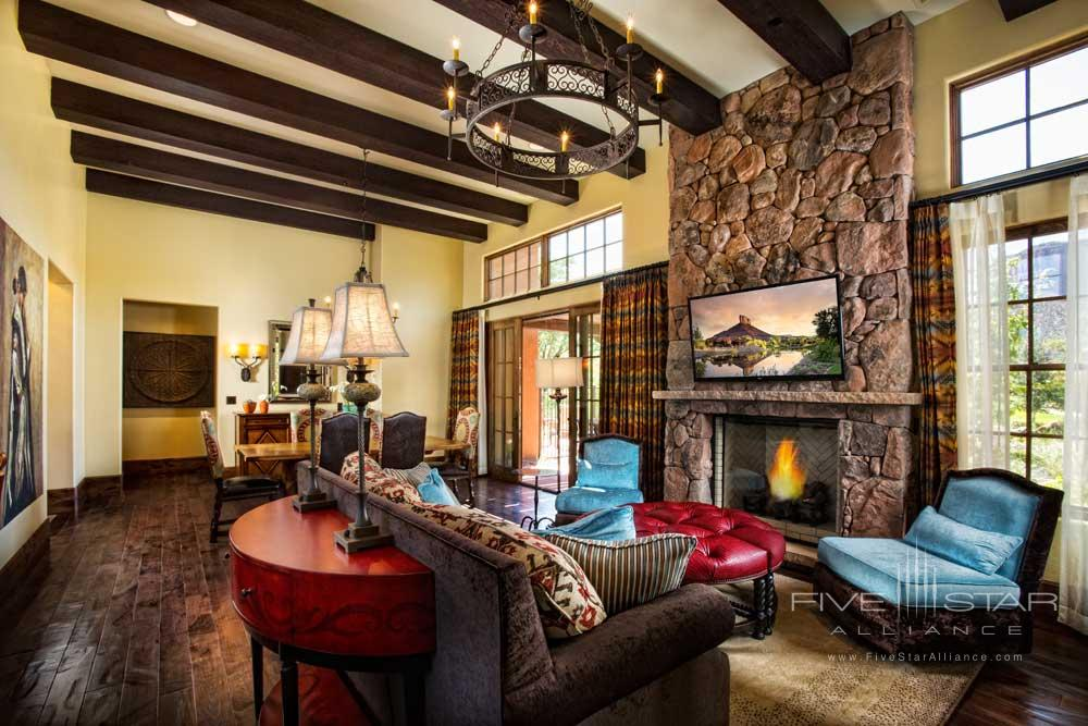 Casita Living Room with a Fireplace at Gateway Canyons Resort and Spa
