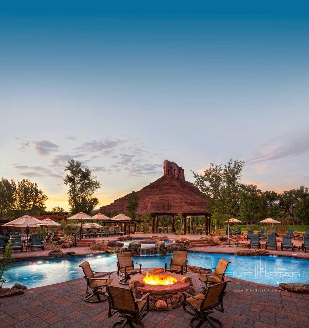 Firepit by the Pool at Gateway Canyons Resort and Spa