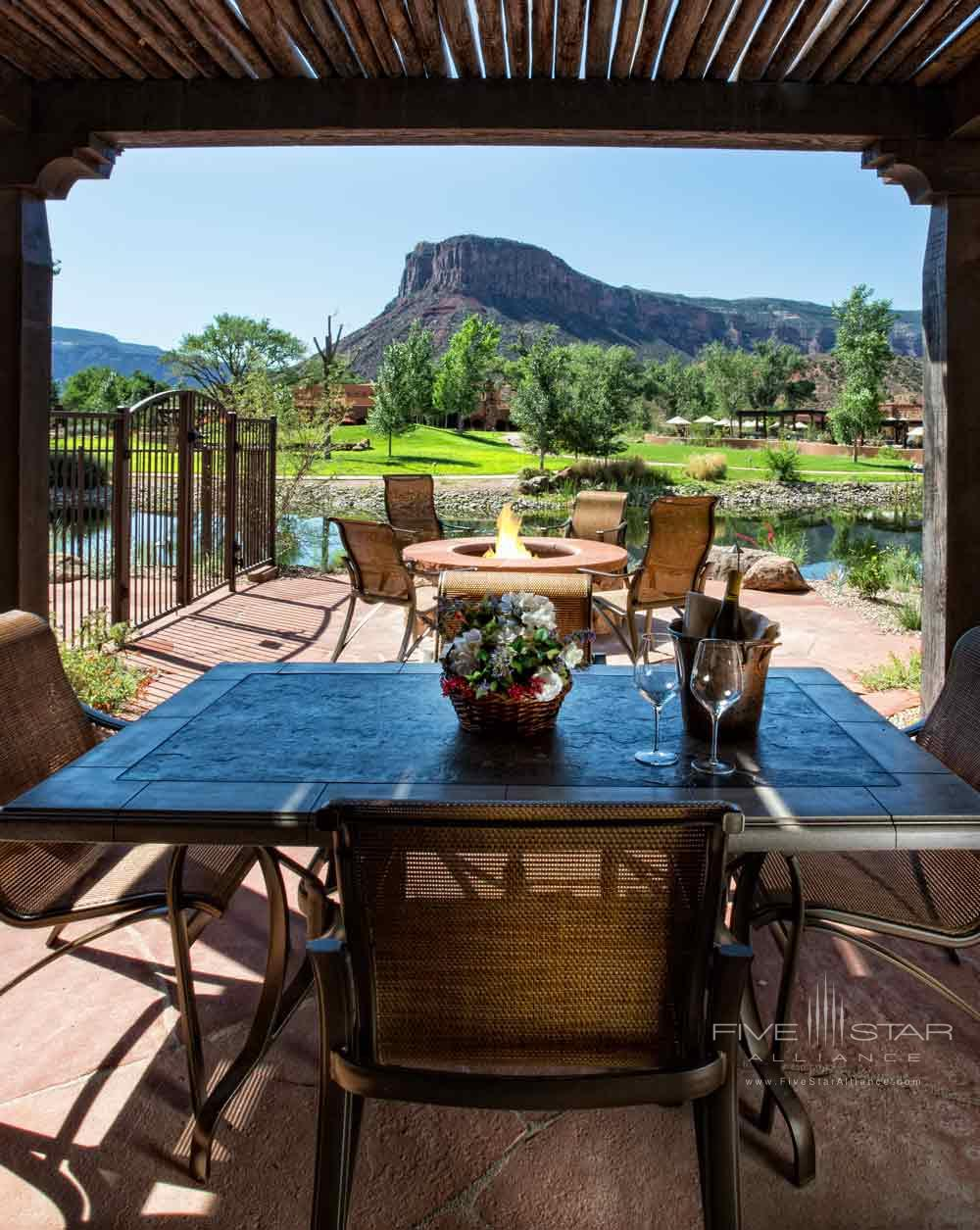 Casita Patio Setting with Wine Available for Tafile at Gateway Canyons Resort and Spa