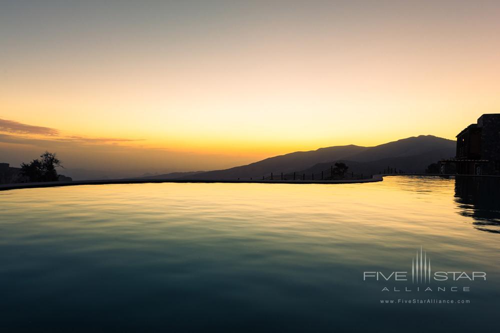 Pool at Sunset at Alila Jabal