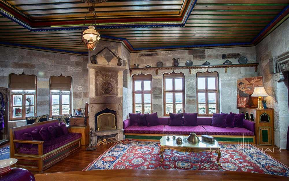 The Eflatun Kosk Suite Eflatun is an Imperial Suite built in the style of a traditional stone house with a balcony furnished for sitting or eating. Both the room and balcony have a fire place.