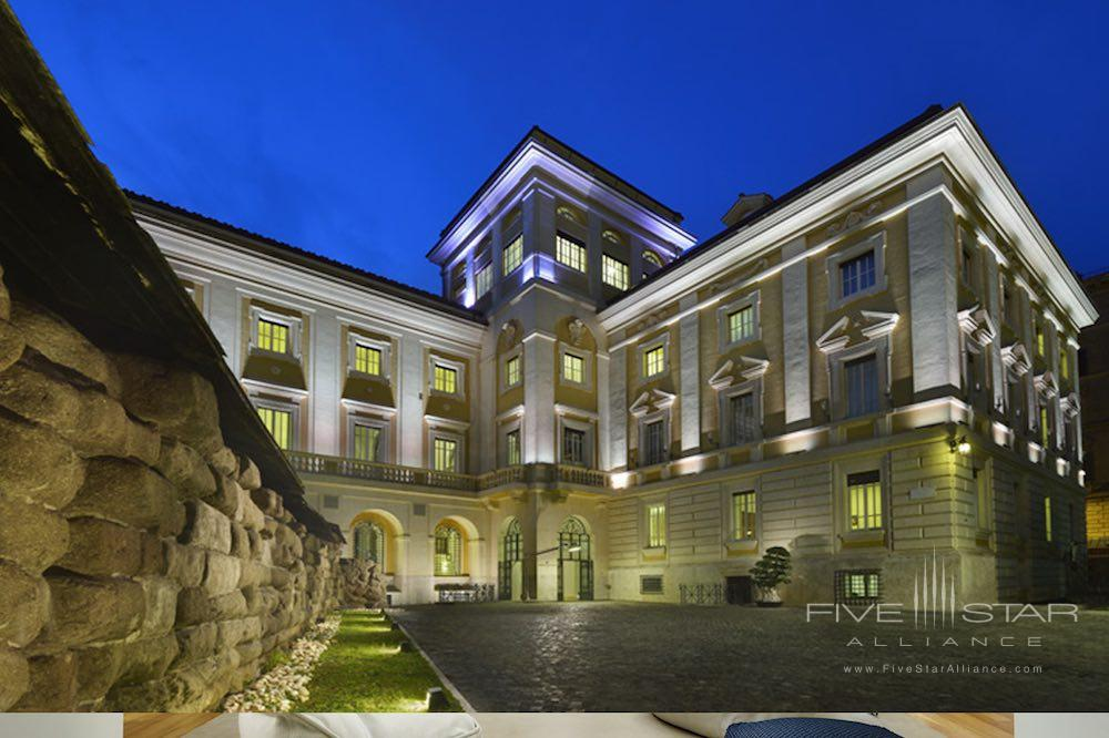 A contemporary hotel in a former palazz, othe exterior of Palazzo Montemartini in central Rome, Italy