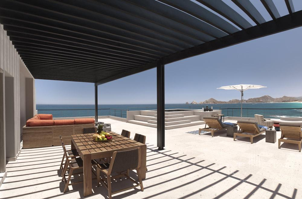 Two-story penthouse with 1 000 square foot rooftop private balcony including lounge seatingwet barBBQpergolaand plunge pooloffering unsurpassed ocean and El Arco views at The Cape, Los Cabos