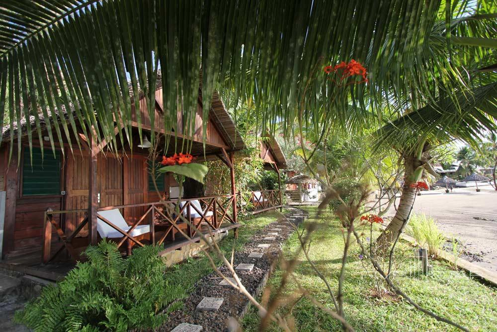 One of ten waterfront wooden bungalows at LHeure Bleue Hotel, Madagascar