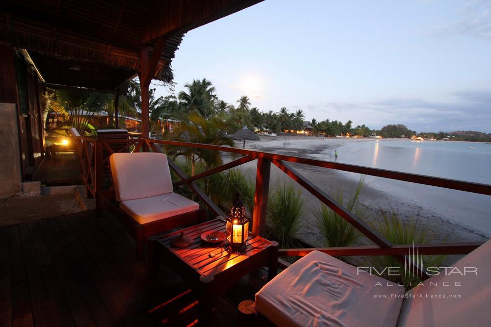Waterfront Bungalow Terrace at LHeure Bleue Hotel, Madagascar